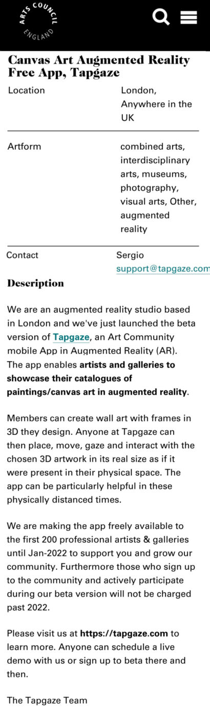 art mobile app augmented reality
